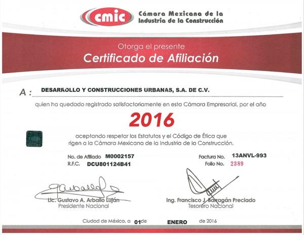 certificado cmic dycusa 2016
